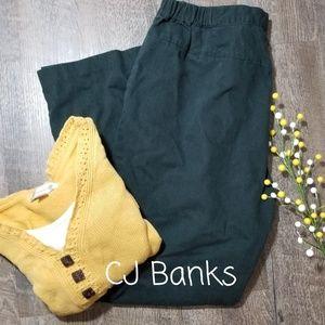 CJ BANKS HUNTER GREEN TWILL PANTS, SIZE 14W